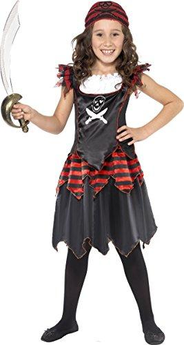 Smiffys-32341M Disfraz de Chica de Calavera de Pirata y Huesos Cruzados, con Vestido y pañoleta para la Cabeza, Color Negro, M-Edad 7-9 años (Smiffy
