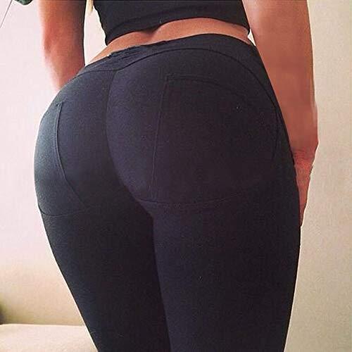 RMENGKUKU - Pantalones de yoga para mujer, cintura baja, elásticos, delgados, para culturismo, fitness, color negro, tamaño small