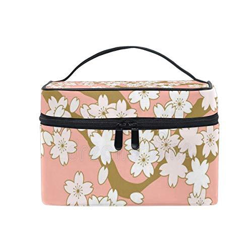 Sac de maquillage rose et cerise d'or cosmétique sac grand sac de toilette portable pour les femmes/filles voyage