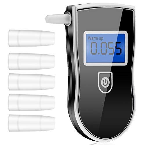 Guangmaoxin Etilometro Portatile, Alcool Tester Digitale, Alcool Test Professionale con Schermo LED Display e 5 Bocchini, Sensore Semiconduttore