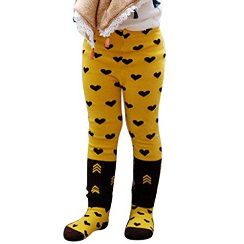 MIOIM Baby Butt Thermo-Strumpfhose Kinder Jungen Mädchen Leggings Hose Strumpfhosen Winter Baumwolle Pants mit Socken Gelbe Bienen 80 cm