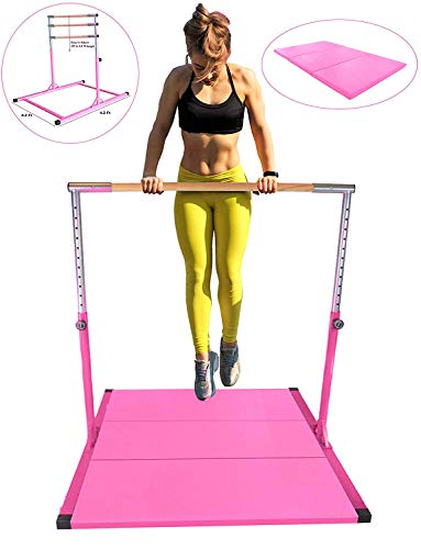 Kids Expandable Kip Bar with Tumble Mat Professional Horizontal Gymnastics Asymmetric Bar 4x6 FT Mat Jungle Gym Height Adjustable 3 to 5 FT Pink