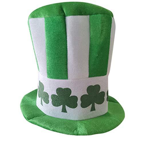 Voberry New Patrick's Day Leprechaun Hut Kobold Zylinder und Bart, Große Schlips und Glückliche Krawatte für Irish St Patrick's Day Kostümparty Kostüm Zubehör Party Favors Dekoration