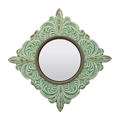 Stonebriar Decorative Antique Green Ceramic Wall Mirror