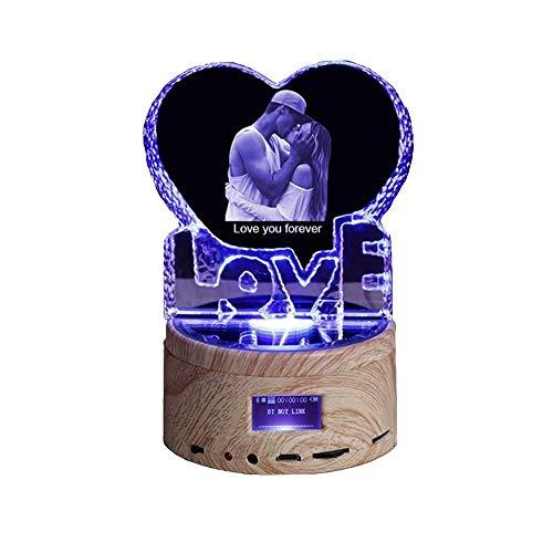 Altavoz Bluetooth de luz nocturna con foto personalizada, lámpara de cristal en forma de corazón, reproductor de música que cambia de color para dormitorio
