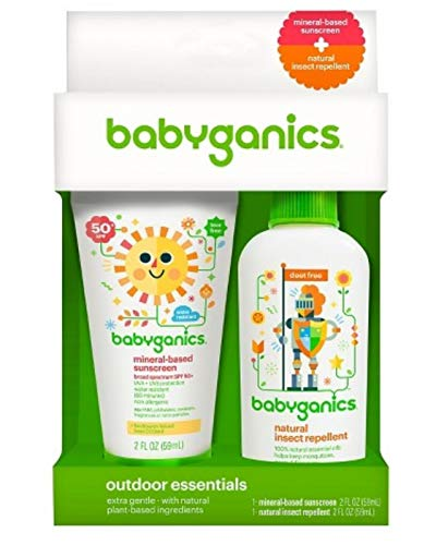 Babyganics Mineral-Based SPF 50+ Sunscreen + Natural Insect Repellent Outdoor Essentials Duo, 2 oz (2 Pack)