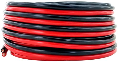 GS Power 10 AWG (American Wire Gauge) 99.9% Oxygen Free Copper OFC Wire. 25 FT Red & 25 FT Black Bonded Zip Cable for Car Audio Speaker Primary Remote Automotive Trailer Harness Model Train Wiring