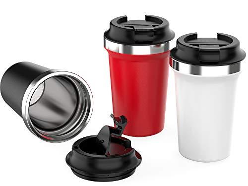 Yuanj Premium Thermobecher Kaffeebecher to go, 350ml Edelstahl Isolierbecher, Doppelwandig & Vakuumisoliert Autobecher/Travel Mug für Kaffee oder Tee (Rot, 350ml)