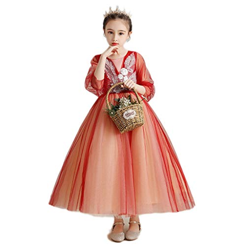 LHY- Kinder-Catwalk-Kleid-Rock Fluffy Verbandsmull Mädchen-Prinzessin-Kleid weiblich Moderator Klavier Kostüm Exquisit (Color : Orange red-b, Size : 150cm)