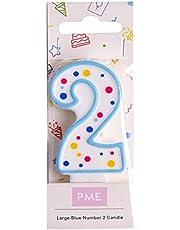 PME födelsedagljus, blå 6.3 cm, 2st