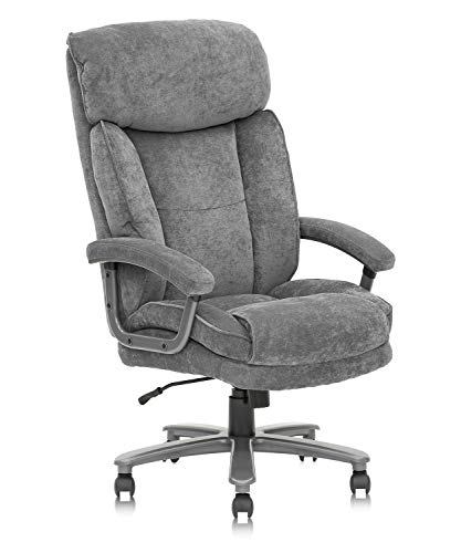 CLATINA Ergonomic Big and Tall Executive Office Chair with Upholstered Swivel 400lbs High Capacity Adjustable Height Thick Padding Headrest and Armrest for Home Office Grey
