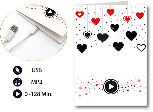 PlayMegram bespielbare Audio-Grußkarte mit USB-Anschluss und 128 MB Speicher, Für eigene Musik oder Sprachnachricht, Liebesgrußkarte, Liebeskarte, Glückwunschkarte, Kreative Geschenkkarte