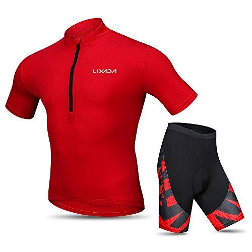 Lixada Homme cuissard VTT + maillot velo à manches courtes Respirant Vêtements de Cyclisme (Rouge, L(EU))