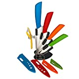 Ceramic Knife Set for Kitchen with Block Stand 5 Pieces Clearcut Ceramic Kitchen Knives Set Paring Peeler | Ceramic Chef Knife Porcelain Cutlery Sheath | Ceramic Knives Set Bread Cuchillos Ceramica