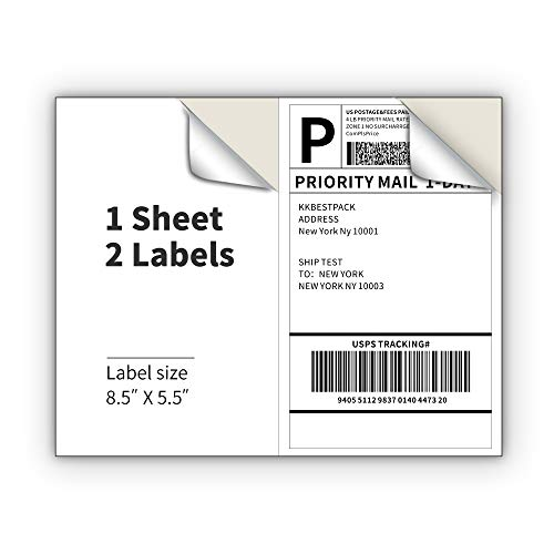 KKBESTPACK Half Sheet Shipping Labels for Laser and Inkjet Printers � 2 Per Page Self Adhesive Mailing Labels for Packages � White 8.5 x 5.5 Postage Labels for Shipping Boxes (1000 Labels) (KK2LP)