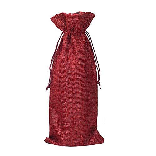 super1798 10 bolsas de arpillera de diseño simple para guardar botellas de vino de champán, regalo de fiesta, decoración del hogar, vino rojo