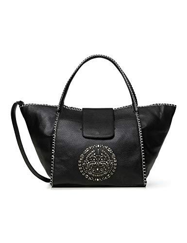 Desigual Mujer Bols_tribal Zaria Medium bolso de asa, 15,5 x 30 x 32 cm, color Negro, talla 15.5x30x32 cm (B x H x T)