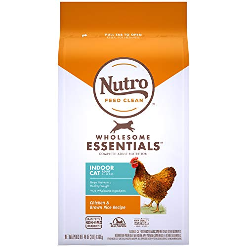 NUTRO WHOLESOME ESSENTIALS Adult Indoor Natural Dry Cat Food for Healthy Weight Farm-Raised Chicken & Brown Rice Recipe, 3 lb. Bag