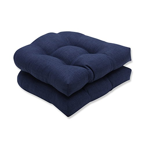 Pillow Perfect Outdoor/Indoor Rave Indigo Tufted Seat Cushions Round Back 19quot x 19quot Blue 2 Pack
