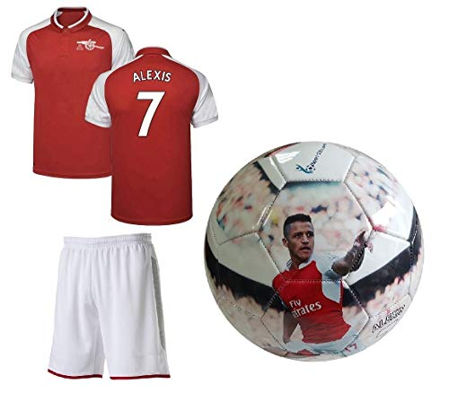 Alexis #7 Jersey + Soccer Ball Youth Sizes - Red Kids Soccer Jersey + Shorts + Premium Alexis #7 Football Size 5 Ball - Great Gift for Boys (YL 10-13 Years, Jersey & Ball)