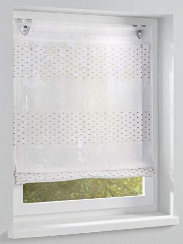 heine home Raffrollo in Scherli-Qualität Halbtransparent 100% Polyester weiß Ösen, Raffrollos:HxB 140/100
