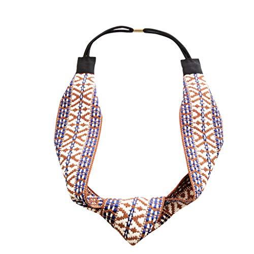 Kolylong_femme Hair Accessories, Bande de cheveux BohêMe Tissage Ethnique Bandeaux Vintage Bandeau Coiffure Accessoires (Jaune)