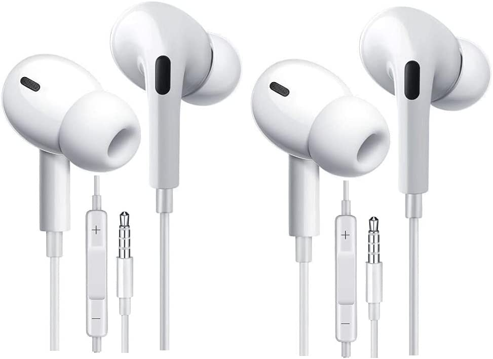 EXECCZO 2-Pack Android Headphones Earphones Earbuds with Microphone,Wired 3.5mm Earphones with Stereo for iPhone/iPad/Samsung Galaxy/LG/Huawei/Sony/HTC and More Android Smartphones (White)