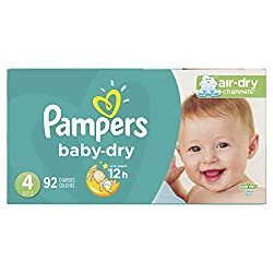 Diapers Size 4, 92 Count - Pampers Baby Dry Disposable Baby Diapers, Super Pack (Packaging May Vary)