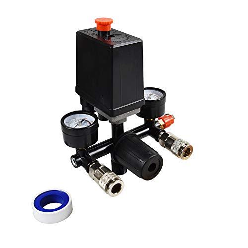 Air Compressor Pressure Switch Control Valve And Regulator Gauges,Pressure Reducer Regulator Regulation With Manometer Air Compressor + 1 x Thread Seal Tapes(1/2-394inch)