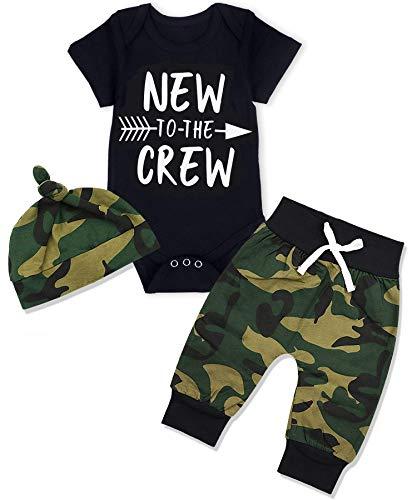 Sfuzwg 3tlg Baby Kleidung Set Baby Jungen Kleidung Langarmbody Strampler Hose Mütze Kleinkinder Neugeborene Weiche Warme Babyset (Kurzarm, 0-3 Monate)