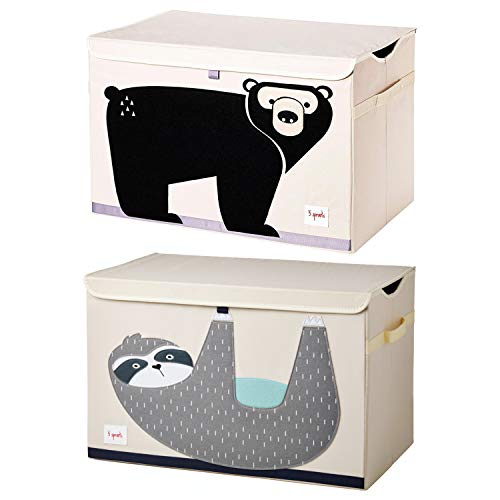 3 Sprouts Children's Nursery Room Soft Fabric Folding Storage Trunk Toy Chest Box Kid's Organizer, Friendly Sloth and Bear (2 Pack)