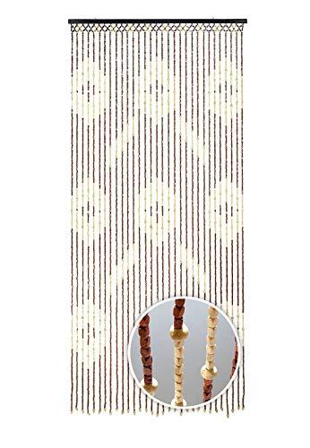 Kobolo Türvorhang Holzperlenvorhang Sevilla 31 Stränge mit Kreisdesign 90x200