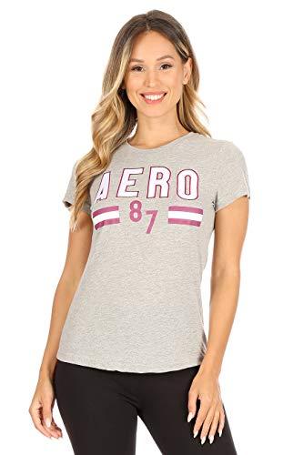 AEROPOSTALE Women's Varsity Embroidered Crew Neck T-Shirt, Light Heather Grey, Small