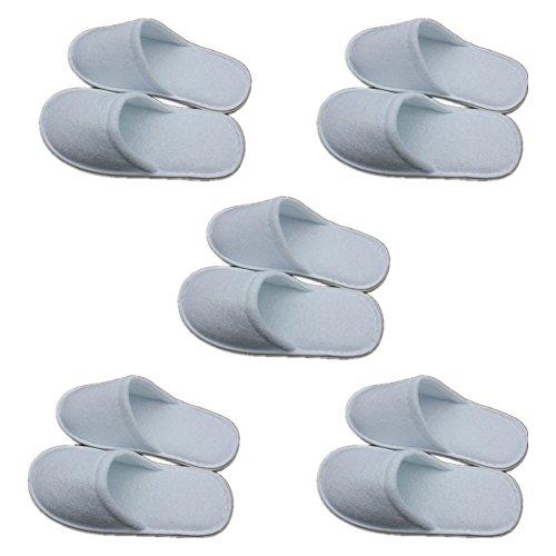 Cosanter Gästehausschuhe 5er Set für Hotels und Herbergen Weiß Einweg-Hausschuhe Gästepantoffel Guest Slippers, 5 Paar