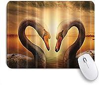 NINEHASA 可愛いマウスパッド 美しいサンセットレイクホワイトスワンラバーズハート ノンスリップゴムバッキングコンピューターマウスパッドノートブックマウスマット