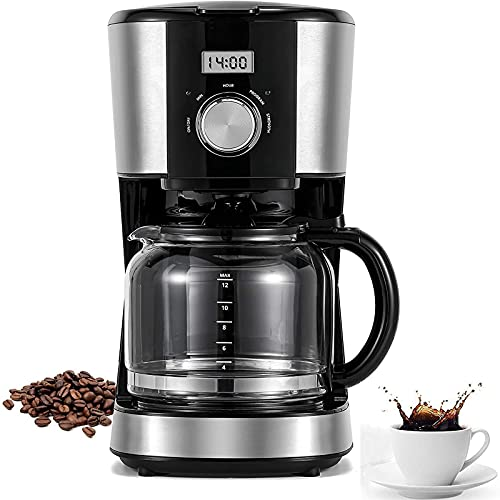 12-Cup Coffee Maker with Reusable Filter, Programmable Drip Coffee Maker Brew Strength Control, Black/Silver
