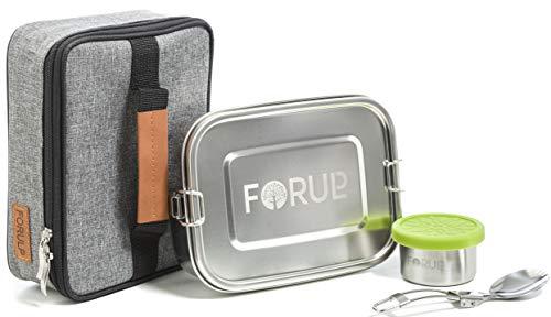 FORULP Fiambrera de acero inoxidable, juego 4 en 1, fiambrera con lata para salsas, tenedor y bolsa isotérmica, caja Bento para niños y adultos, recipiente hermético con accesorios de camping