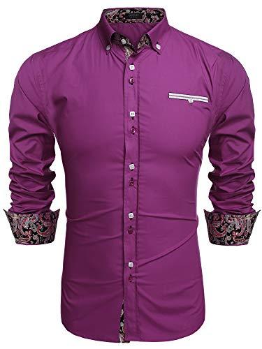 Coofandy Men's Fashion Slim Fit Dress Shirt Casual Shirt,01-purple,XX-Large
