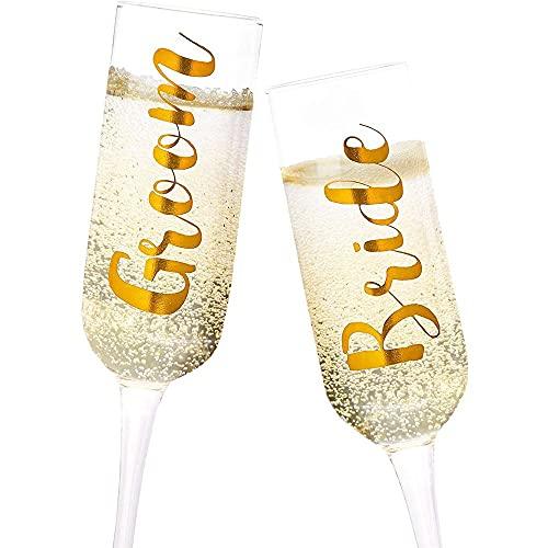 Juvale Juego de 2 copas de champán de cristal dorado para novio y novia, 8 onzas