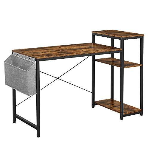 VASAGLE Schreibtisch, Computertisch mit Regal, verstellbare Ablage, mit Seitentasche, 130 x 55 x 90 cm, Industrie-Design, vintagebraun-schwarz LWD088B01