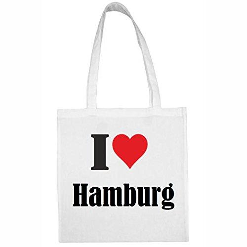 Tasche I Love Hamburg Größe 38x42 Farbe Weiss Druck Schwarz