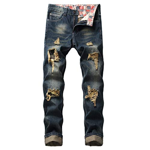 Lookatool Jeans Pants Men's Slim Fit Ripped Jeans Destroyed Denim Men's Skinny Slim Fit Ripped Distressed Stretch Jeans Pants 36 Dark Blue