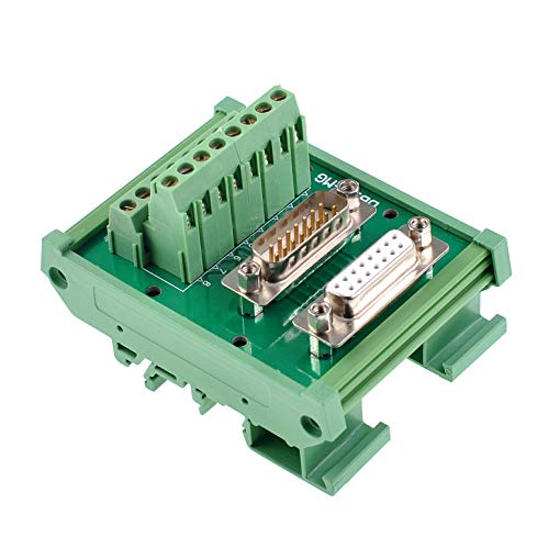 Oiyagai DB15 D-Sub Male & Female Header Breakout Board Terminal Board Block DIN Rail Mount Interface Module Connector