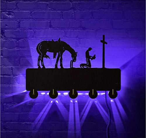 Wangzhuoyue Christian Cowboy Praying Led Night Light Hombre Arrodillado En La Cruz Con La Silueta Del Caballo Llave Perchero Perchero Ganchos De Pared De Madera