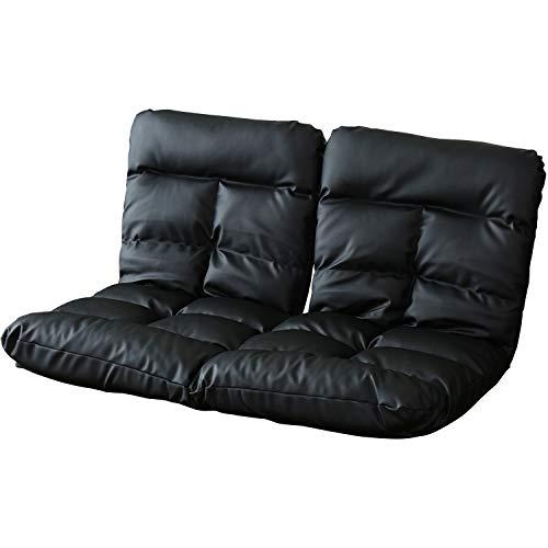 DORIS 座椅子 2人掛け ローソファ フロアソファ 左右独立リクライニング 奥行調整可能な2箇所の14段階ギア搭載 レザー ブラック ピオンセ