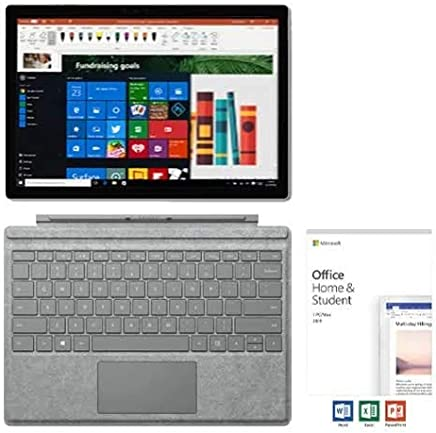 """$1056 Get Microsoft Surface Pro 6 12.3"""" PixelSense Touchscreen Tablet PC w/Signature Type Cover + Office Home & Student 2019, 8th Gen Intel Quad Core i5, 8GB RAM, 128GB SSD, USB 3.0, Windows 10, Silver"""