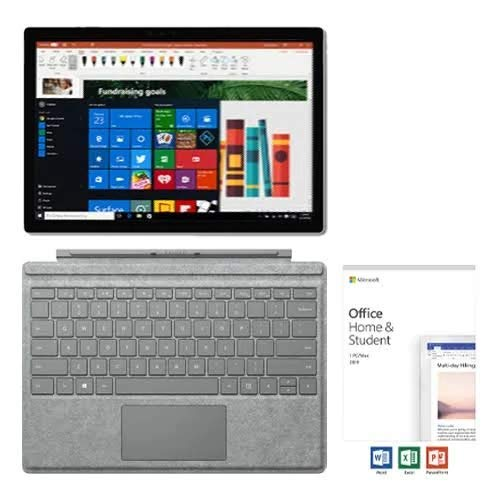 "Microsoft Surface Pro 6 12.3"" PixelSense Touchscreen Tablet PC w/Signature Type Cover + Office Home & Student 2019, 8th Gen Intel Quad Core i5, 8GB RAM, 128GB SSD, USB 3.0, Windows 10, Silver"