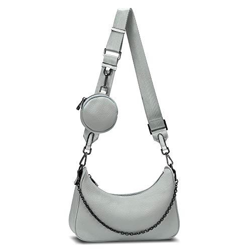 YALUXE Sac Porte épaule Femme Cuir Véritable Sac à Main Pochette Mode avec Petit Porte Monnaie Gris bleuâtre