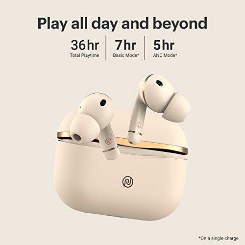 Noise Buds Solo Truly Wireless Earbuds with Hybrid Active Noise Cancellation (up to -35 dB) | Triple Mic and in-Ear Detection, 36 Hours Playtime with Hyper Sync (Ecru Gold)