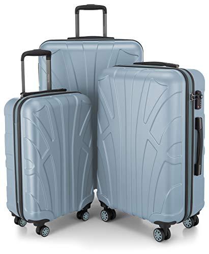 SUITLINE - Juego de 3 Maletas, Maleta de Viaje Trolley, Maletas de Carcasa Dura, TSA, (55 cm, 66 cm, 76 cm), 100% ABS, Mate, Piscina Azul
